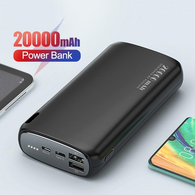 خازن الطاقة 20000 mAh خازن الشحن السريع PowerBank 20000 mAh USB شاحن بطارية خارجية ل شاومي Mi 10 9