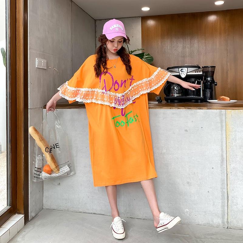 Oversized Women Lace Letter Print T shirt Dress Summer New Arrival Fashion Korean Cotton Dress Plus Size 4XL 5XL 6XL Dress 2020