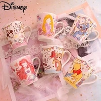 disney summer drinking cup coffee cup cartoon ceramic cup stitch cute large capacity breakfast milk cup