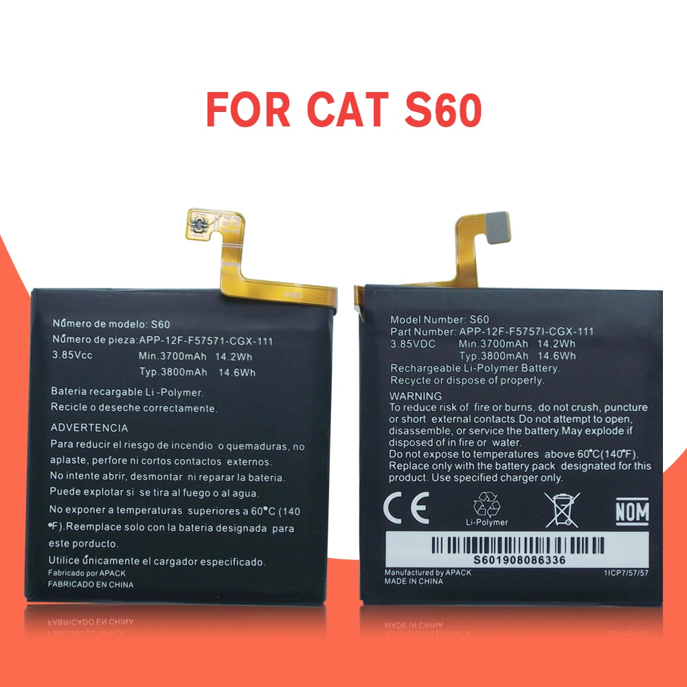 100% Original 4500mAh Battery Replacement for CAT S60  APP-12F-F57571-CGX-111 Batteries Bateria enlarge