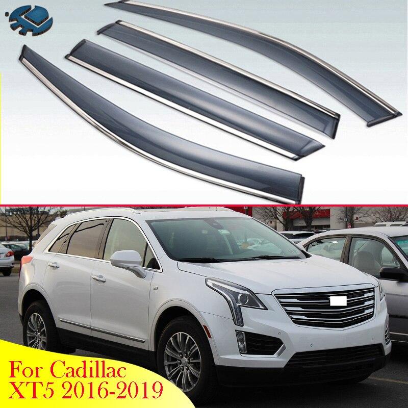 Para cadillac xt5 2016-2019 acessórios do carro de plástico exterior viseira ventilação shades janela sol guarda chuva defletor 4 pçs