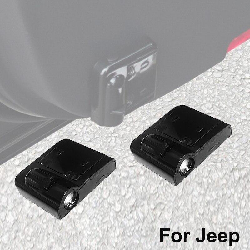 2 pçs led porta do carro luz para jeep cherokee xj kj kk kl liberdade patriot wrangler yj tj jk jl grand cherokee wj wk wl projetor