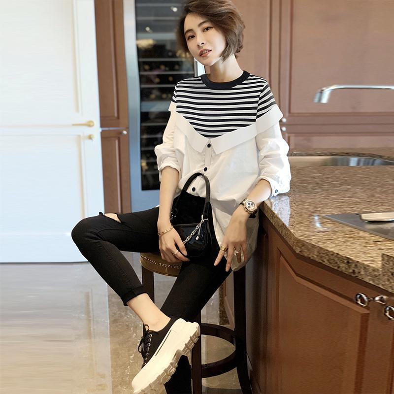 White striped shirt women's loose fitting two-piece shirt long sleeve thin early autumn new 2020 form fitting striped shell dress