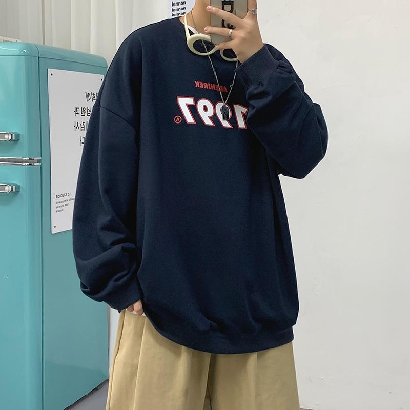 Свитшот Neploha мужской оверсайз, Повседневная мешковатая толстовка с круглым вырезом, с надписью, корейский стиль, одежда для мужчин, 1997, осень...