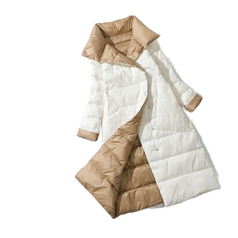 Женская двухбортная куртка на белом утином пуху, теплая парка с воротником «хомут», длинная Двухсторонняя куртка, зима 2021