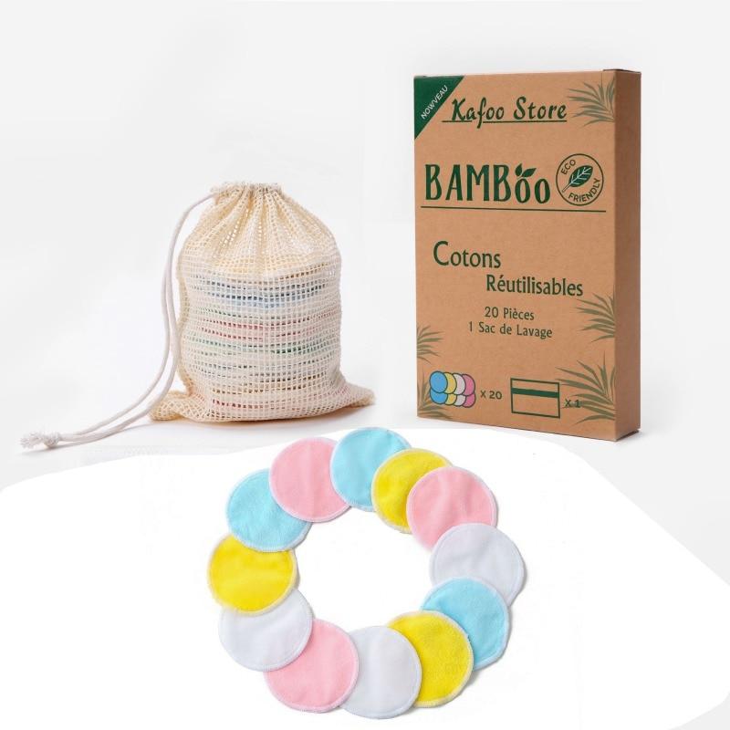 Nuevos 20 paquetes de almohadillas reutilizables para quitar el maquillaje, lavables, respetuosas con el medio ambiente, redondas de algodón de bambú Natural