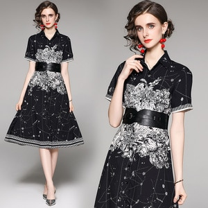 Euro-American England Style Women French Dress Black Floral Print Designer Brand Luxury Party Sashes Belted Tunic Shirt Dresses