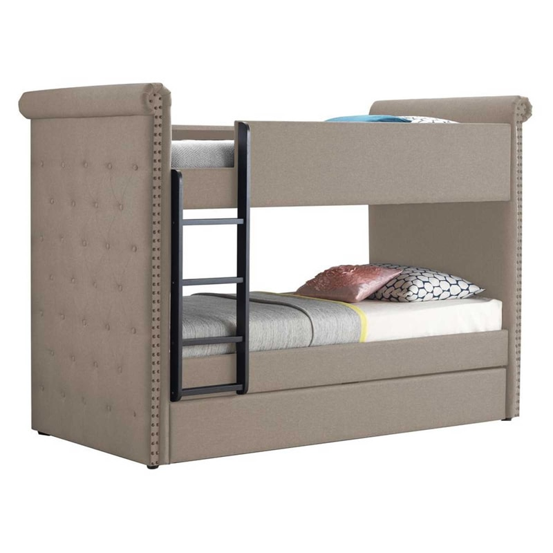 Beige Fabric Wood Bunk Bed For Kids Hardwood Twin Over Twin Bunk Bed With Trundle