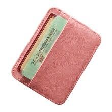 RFID การปิดกั้น PU หนังผู้หญิงบัตรเครดิต Mini Travel กระเป๋าสตางค์รถบัส ID กระเป๋าสตางค์เหรียญกระเป๋า Slim ...