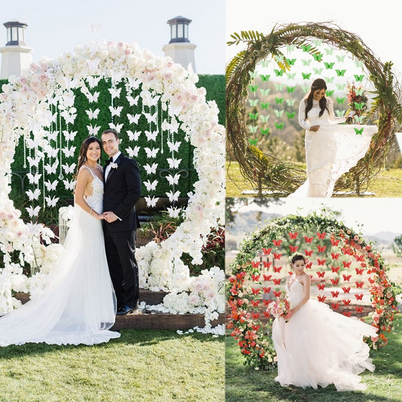 Guirnalda de borlas de mariposa 3D para boda de 2,7 M, decoración de papel para manualidades, decoraciones para arco de boda, colgante de borla de mariposa para dormitorio de chicas