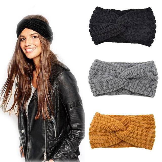 New Knitted Knot Cross Headband for Women Autumn Winter Girls Hair Accessories Headwear Elastic Hair Band Hair Accessories