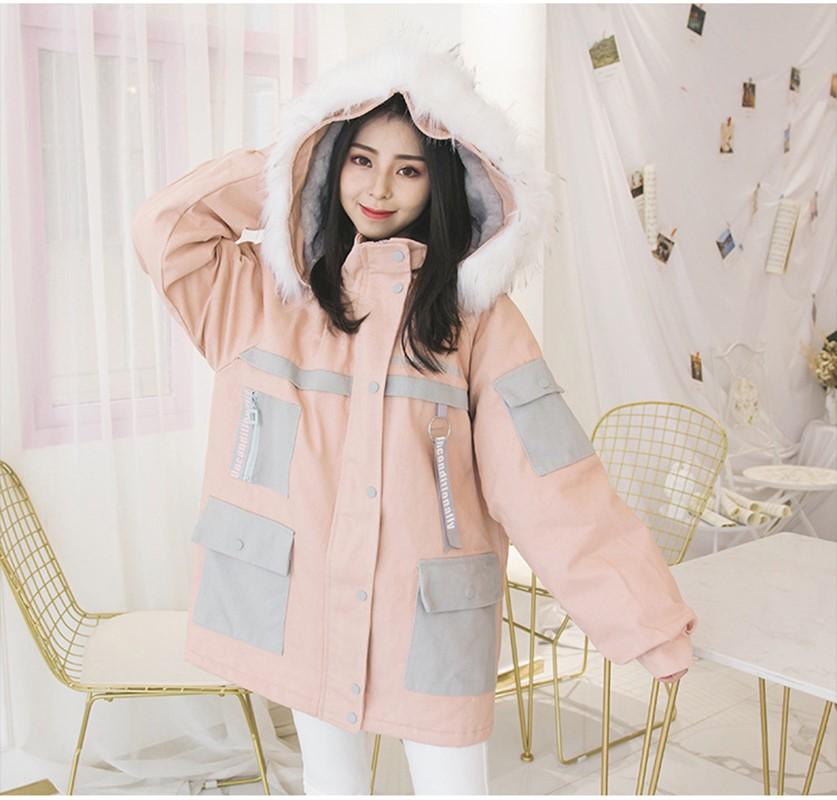 Hermana suave japonesa Otoño e Invierno lindo grueso gris azul polvo algodón abrigo mantener caliente victorian abrigo chaqueta gótica suelta