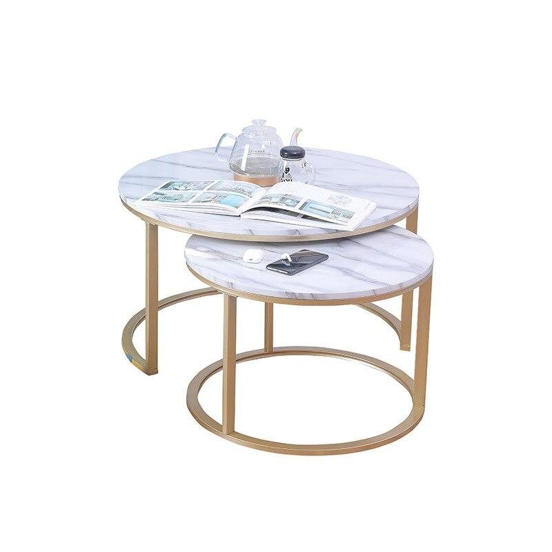 الرخام الملمس طاولة القهوة لغرفة المعيشة أريكة الجانب طاولة شاي القهوة المستديرة 2 في 1 مزيج الأثاث الذهبي أبيض أسود