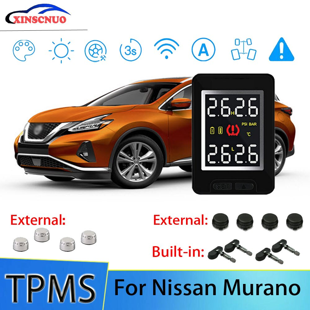 XINSCNUO Car Electronics Wireless For Nissan Murano TPMS Tire Pressure Monitoring System Sensor LCD