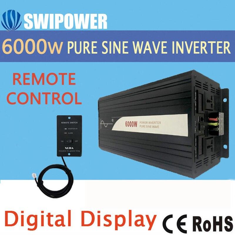 6000W (control remoto) onda sinusoidal pura inversor de energía solar 24V DC 12V 48V a AC 110V 220V pantalla digital