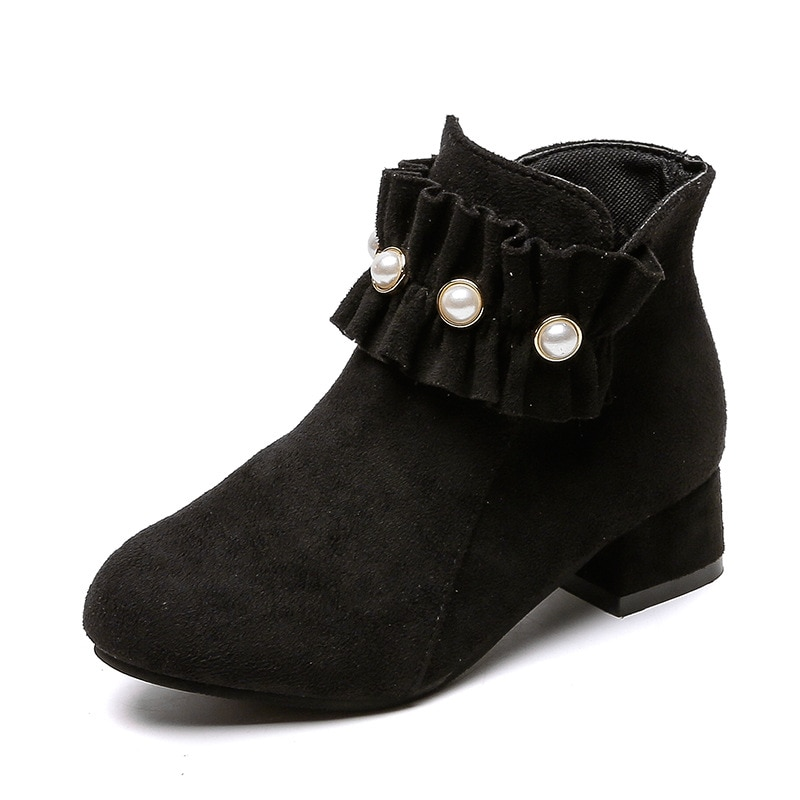 Детские ботинки для девочек, ботильоны для больших детей, красивые плиссированные ботинки принцессы с оборками и жемчугом, Украшенные буси...