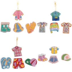 4/5 pçs diy forma especial pintura diamante chaveiro pingente saco ornamentos chaveiro roupas animal daimond pintura artesanato presente