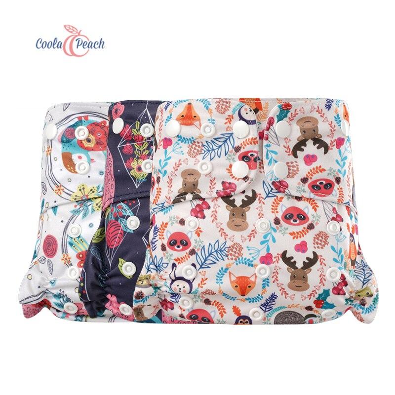 Coola Peach OS, pañal de tela con insertos, pantalones de entrenamiento, impermeable, ajustable