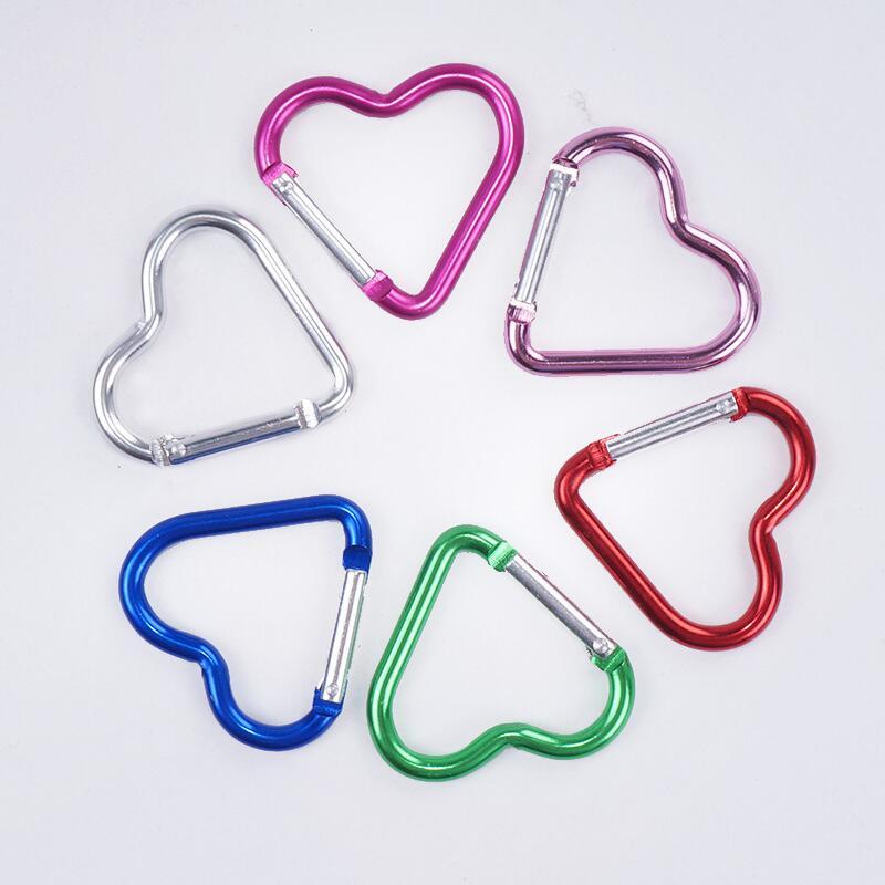 سلسلة مفاتيح ألومنيوم على شكل قلب ، حلقة تسلق خارجية ، تخييم ، LX7857 ، بالجملة