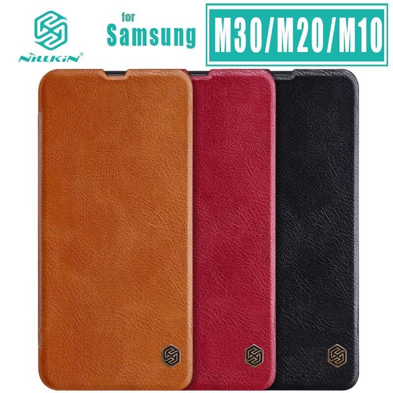 Funda para Samsung Galaxy M30 M20 M10 J8 J7 Pro Max Duo J6 Plus Prime J5 J2 Pro J4 Core, con tapa NILLKIN Funda de cuero, funda con ranura para tarjeta