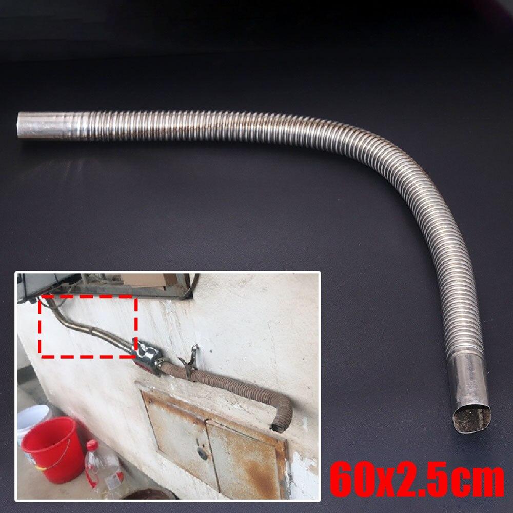JEAZEA 60x2.5cm Metal Car Exhaust Pipe Gas Vent Hose Diesel Heater Exhaust Muffler Pipe  for Diesel Gas Vent Hose Accessories