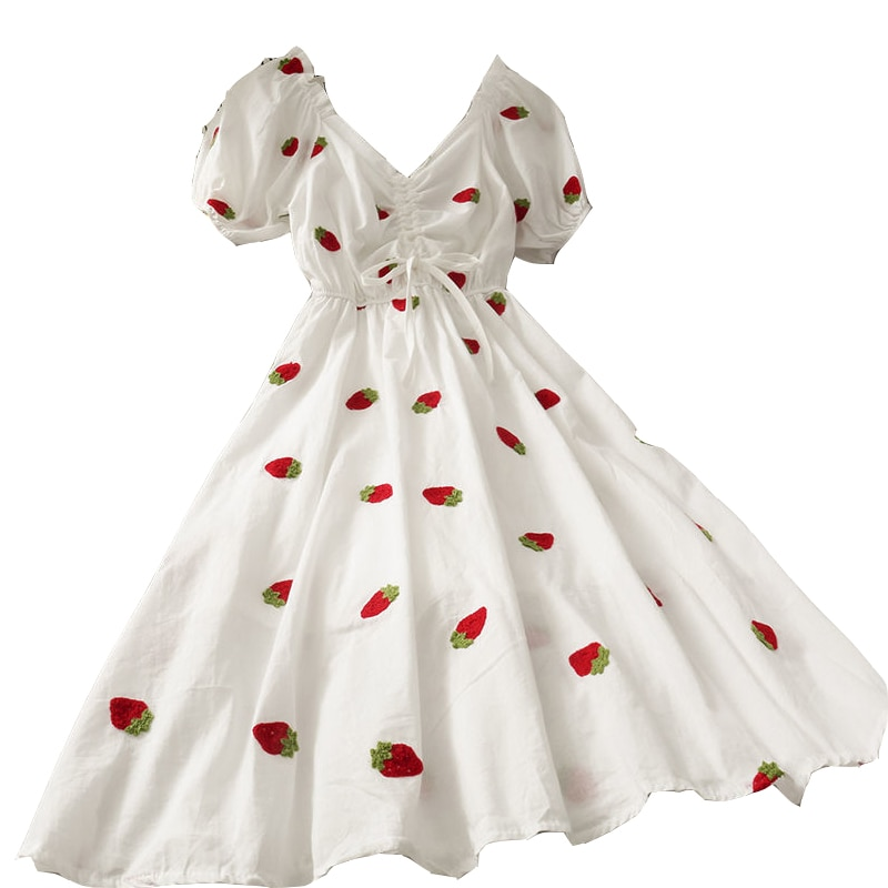 Bordado de manga corta vestido plisado Mujer coreano moda ropa verano estilo cuello pico Cordón de alta gama vestido con fresas