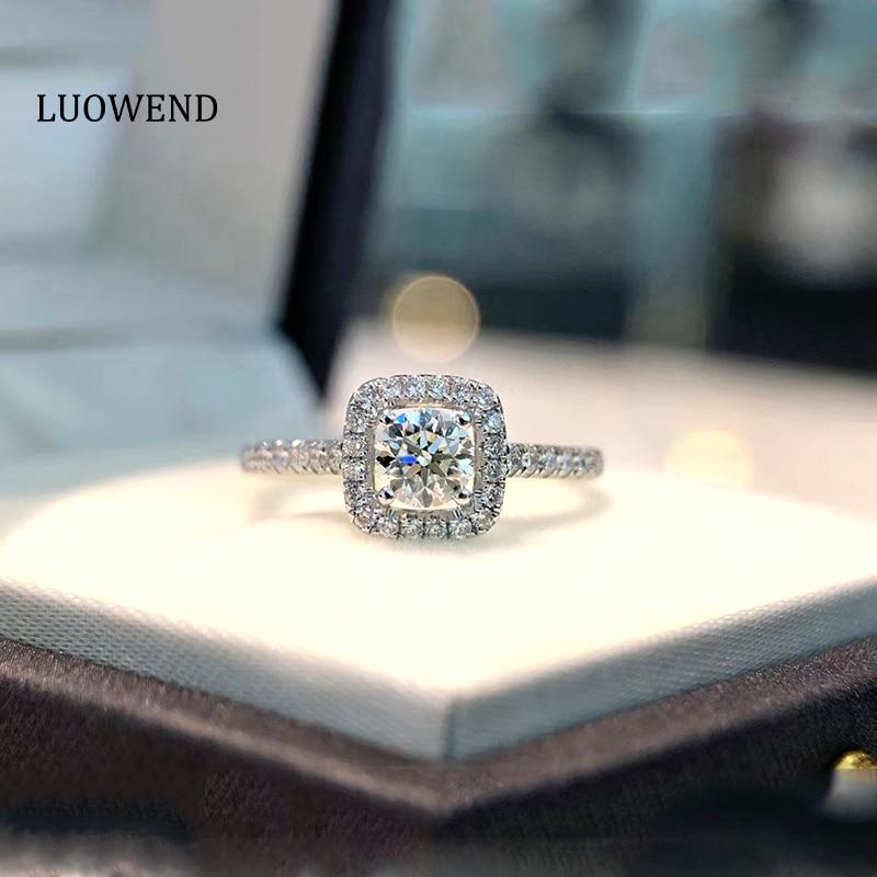 LUOWEND 18K الذهب الأبيض (AU750) خاتم الخطوبة مزاجه أنيقة مويسانيتي للنساء الذكرى الزفاف أفضل هدية