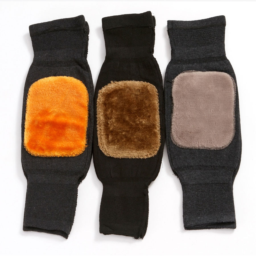 Thick Warm Wool Kneepad Leg Guard Cashmere Knee Protector Windproof Coldproof Leg Warmers for Women Men KneeCap Leg Sleeves