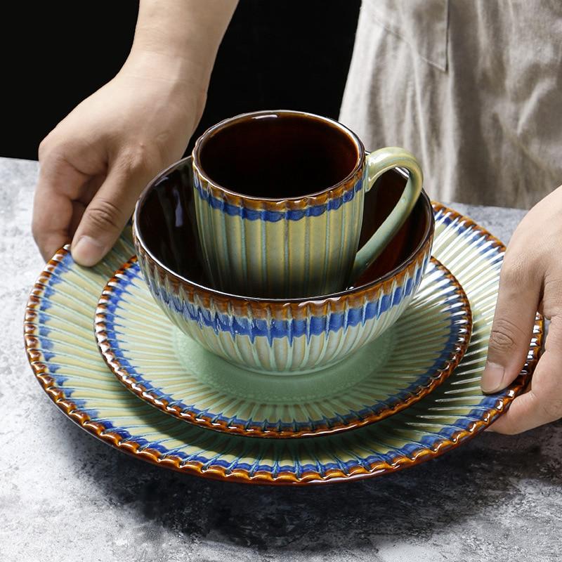 Vajilla de cerámica creativa, plato a rayas Beige, cerámica China, hogar, restaurante, platos decorativos, plato, tazón, taza, combinación
