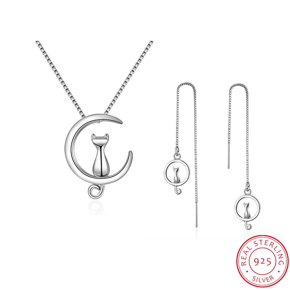 Juego de joyas de plata de ley 925 collar de gato de Luna lindo + pendientes para regalo de mujer Niña