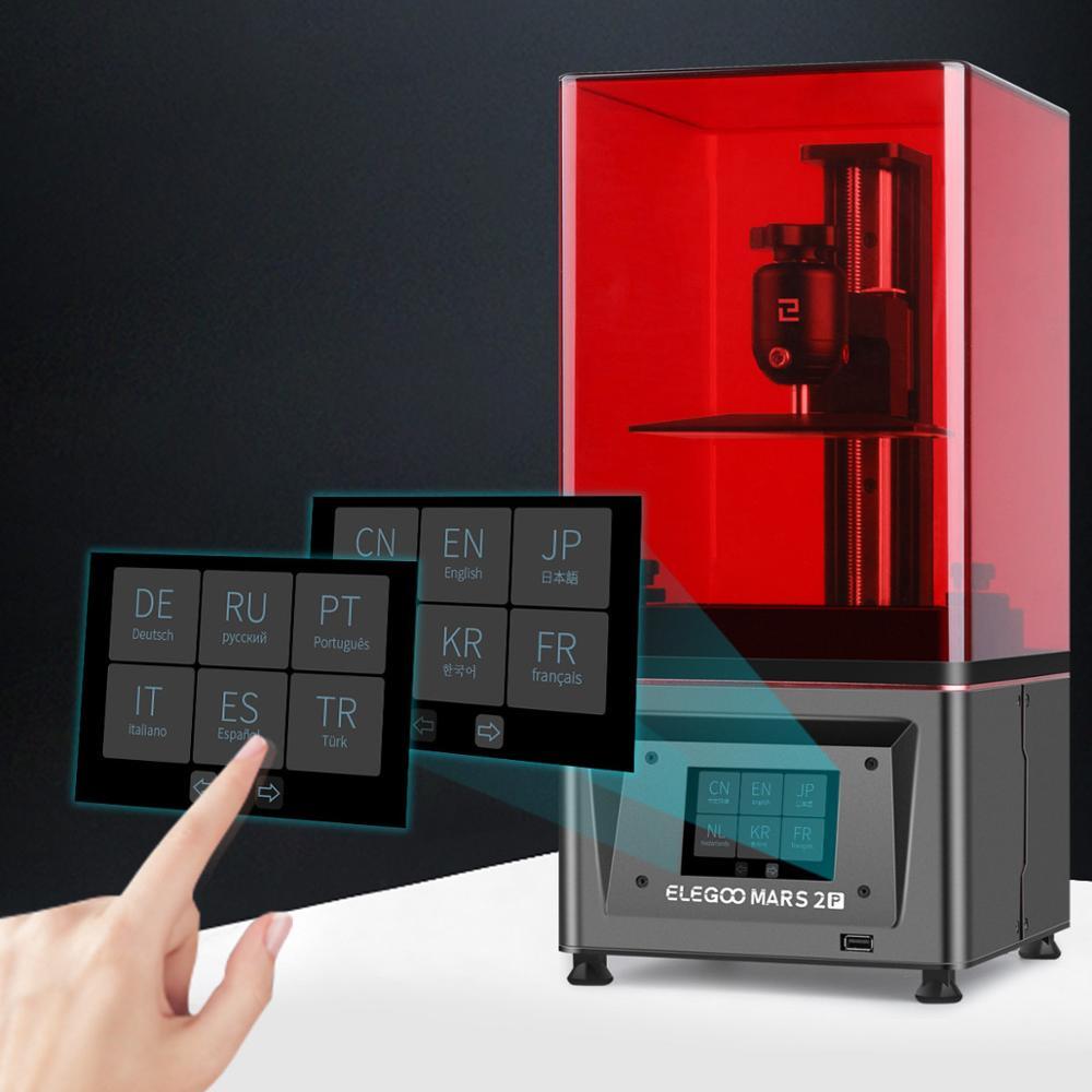ELEGOO Mars 2 Pro 3D-принтер с 6,08 дюймовым моно ЖК-дисплеем, УФ фотоотверждающий полимерный принтер, SLA принтер, ультра точность 129*80*160 мм 3D-принтер