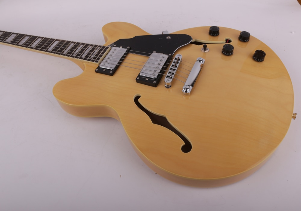 Good quality jazz hollow body right hand natural f hole electric guitar free shipping enlarge