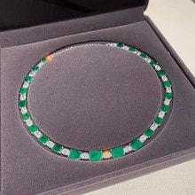 Realytrust Luxury Created Colombian Emerald Diamond Necklace for Women 925 Sterling Silver Jewelry C
