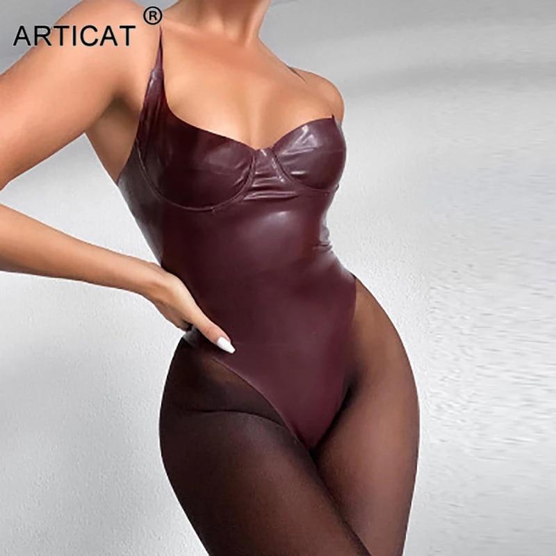 Articat Sexy PU Leather Skinny Bodysuit Women Solid Sleeveless Spaghetti Strap Women Jumpsuits Sexy Night Party Club Overalls