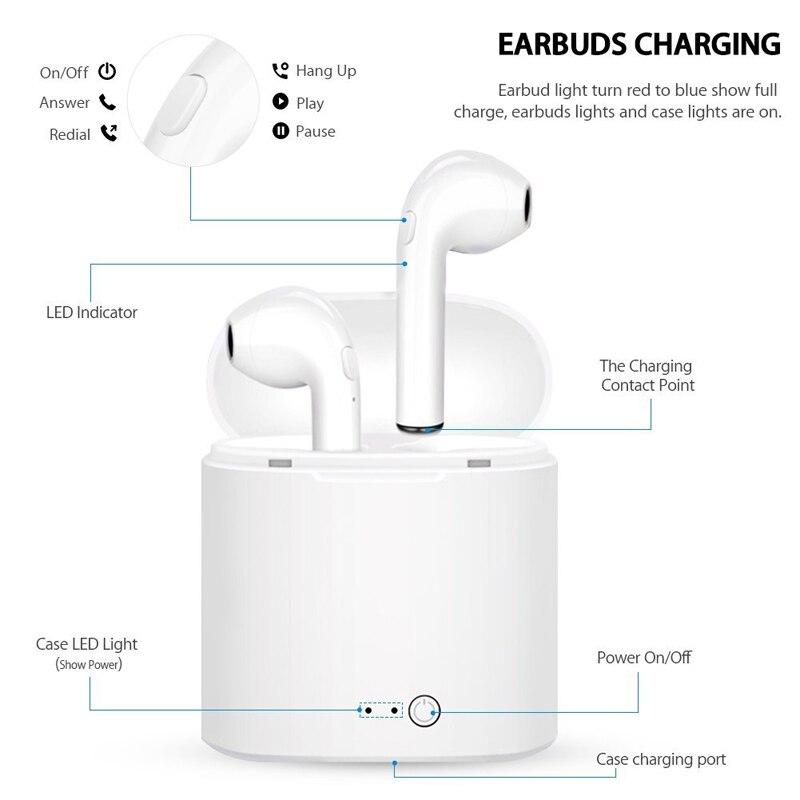 i7s TWS inambricos por Bluetooth 5,0, Xiaomi con micrfono para cascos deportivos, Samsung, Huawei, LG, tefono inteligente pk A6S enlarge
