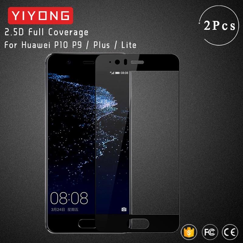 Yiyong vidro capa completa para huawei p10 lite vidro temperado para huawei p10 p9 plus protetor de tela em huawei p9 lite 2017 vidro