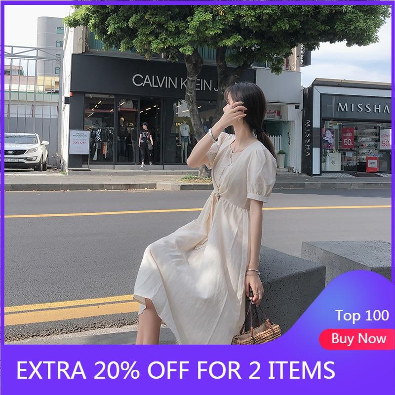 MISHOW 2019 Summer Dress For Women Solid Long Dress Vintage Women Clothes Slim Korean Female Vestidos MX19B1379