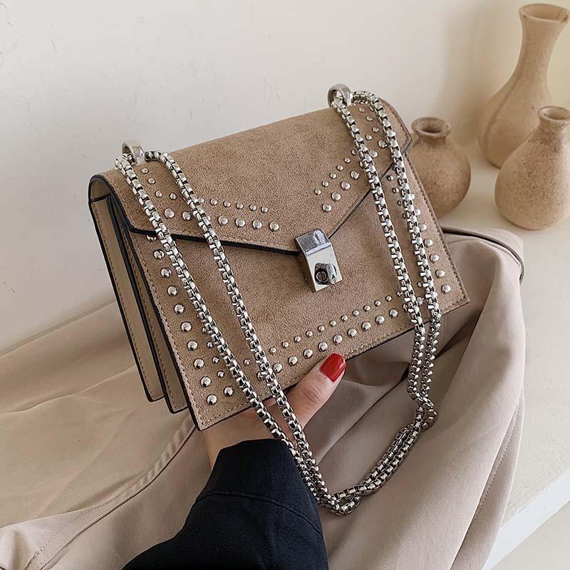 Scrub Leather Simple Shoulder Bags For Women Brand Designer 2021 Chain Rivet Luxury Crossbody Bag Female Fashion Small Handbags