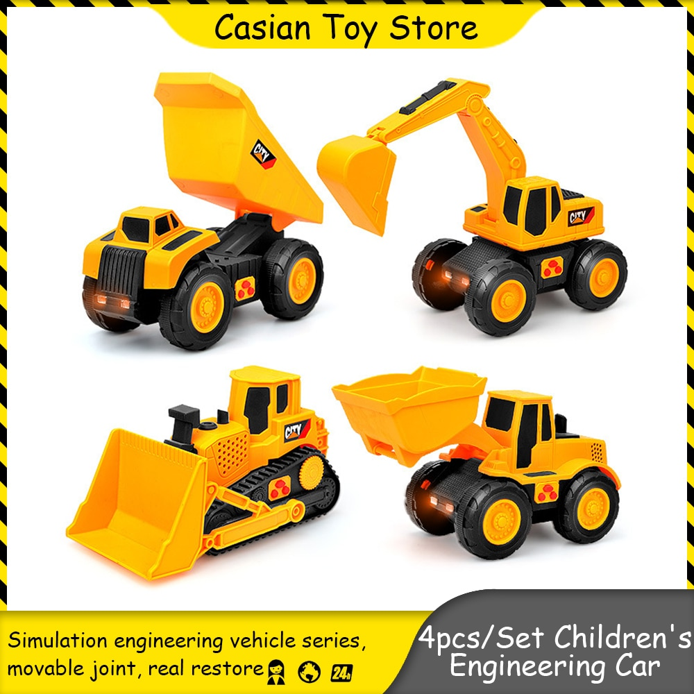 4pcs/Set 1:43 Childrens Engineering Inertia Car Bulldozer And Excavator Toys Simulation Model Set for Boys Gift