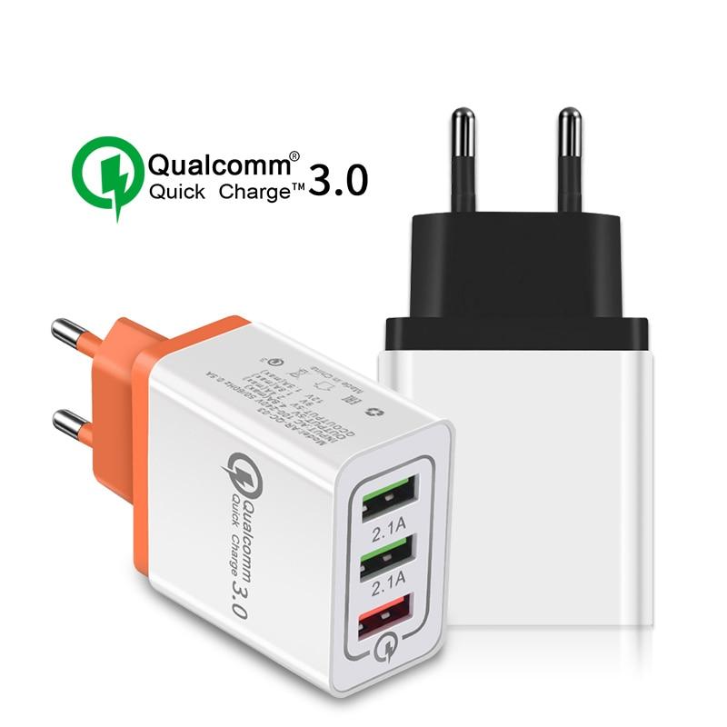 Carga rápida QC 3.0 5V 3A Carregador USB 3.0 Adaptador De Carregamento Rápido 3 USB Carregador Do Telefone Móvel Para O iphone XR XS Max X 7 8 Carregadores