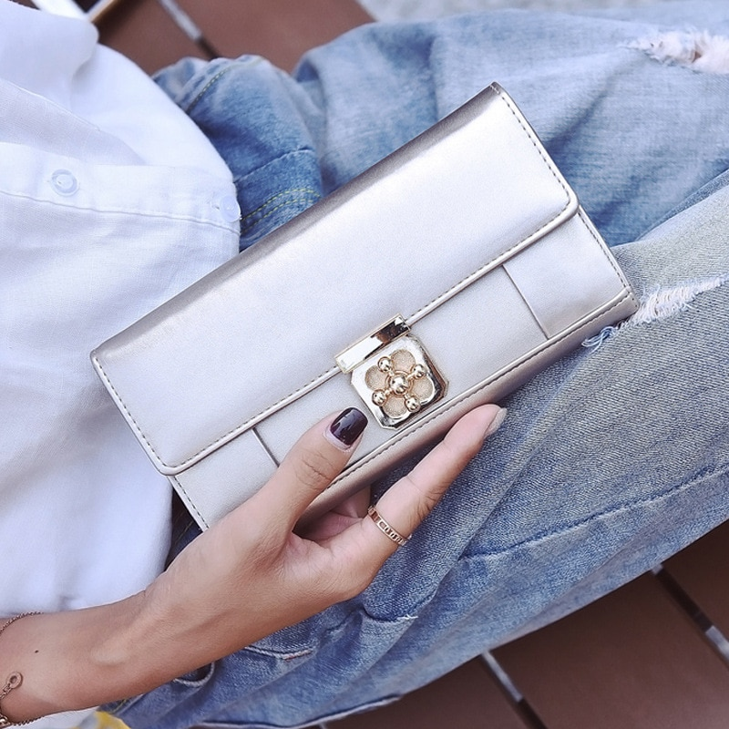 Women's Bag 2020 New Style Women's Pu Plum Blossom Lock Wallet Simple Large Wallet Girl's Clutch Bag