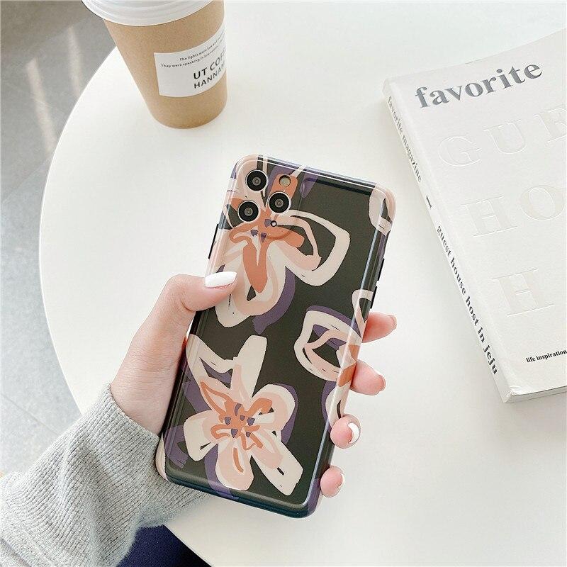 Funda de teléfono Retro de flores Vintage para iPhone XS Max XR X 7 8 Plus, Funda para iPhone 11 Pro Max, bonita suave Funda de silicona brillante