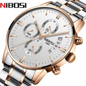 NIBOSI Top Brand Luxury Mens Watches Stainless Steel Fashion Sports Chronograph Waterproof Quartz Watch Men Relogio Masculino