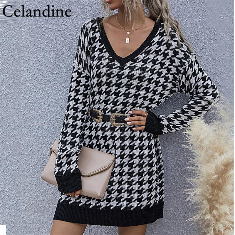 Celandine Black Houndstooth Oversized Knitted Sweater Women V Neck Long Sleeve Pullover Loose Jumper Jerseys Autumn Winter 2020