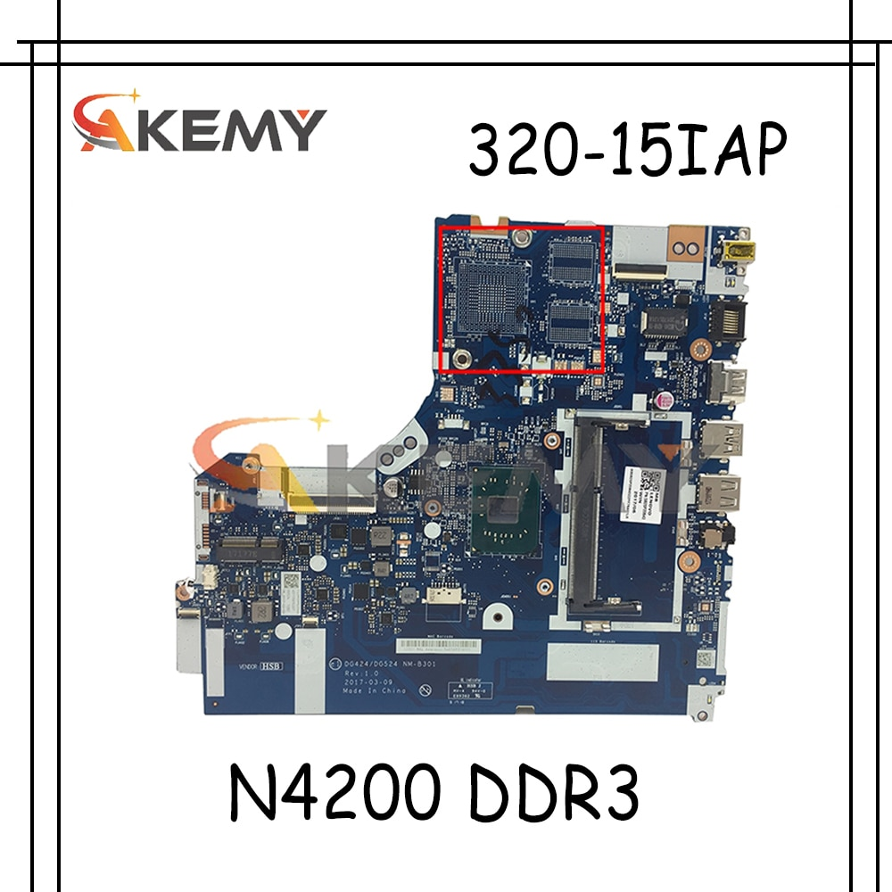 Akemy لينوفو 320-15IAP اللوحة المحمول DG424 DG524 NM-B301 اللوحة CPU N4200 DDR3 100% اختبار العمل شحن مجاني