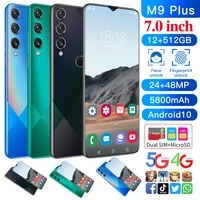 m9 plus 7 0 inch hd smartphone 12gb512gb 5800mah 5g network fingerprint facial recognition can unlock android10 5g mobile phone