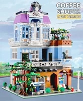 mould king moc streetview the coffee corner with led light model building blocks assembly bricks kids diy toys christmas gifts