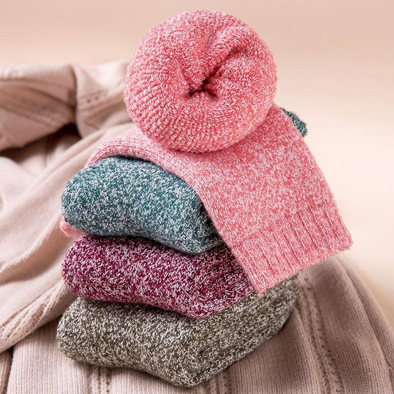 Invierno nuevo grueso especial caliente color sólido moda casual lana material calcetines 3 pares