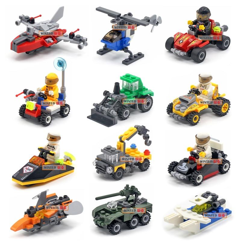 Оригинальный мини-транспортировочный блоки моделей, автомобиль, совместимый с маленьким строительным блоком, городской полицейский самол...
