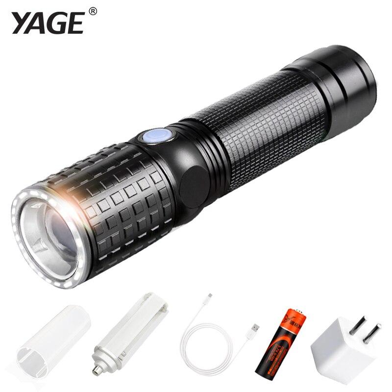 YAGE 341C linterna T6 2000LM aluminio Zoom CREE LED linterna 18650 lámpara 6 modos USB táctica antorcha luz (18650 batería en)
